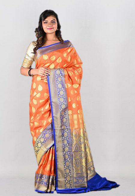 Orange Color Contrast Semi Katan Silk Saree (She Saree 987)