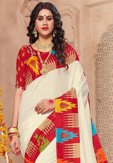 Off White Color Art Silk Saree (She Saree 708)