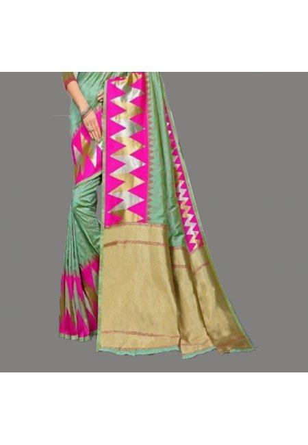 Pastel Green Color Semi Katan Silk Saree (She Saree 693)