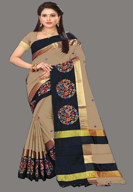 Beige Color Cotton SIlk Saree (She Saree 758)