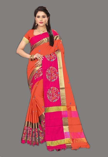 Orange Color Cotton SIlk Saree (She Saree 759)