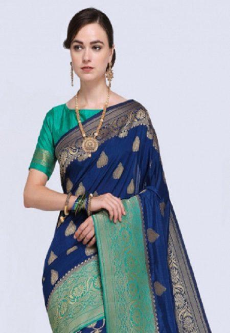 Navy Blue Color Khaddi Silk Saree (She Saree 621)