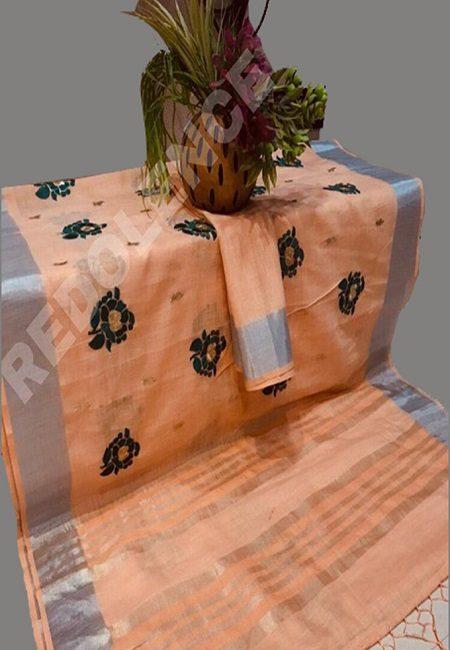 Peach Color Linen Cotton Saree (She Saree 700)