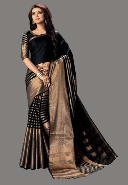 Black Color Cotton Silk Saree (She Saree 725)
