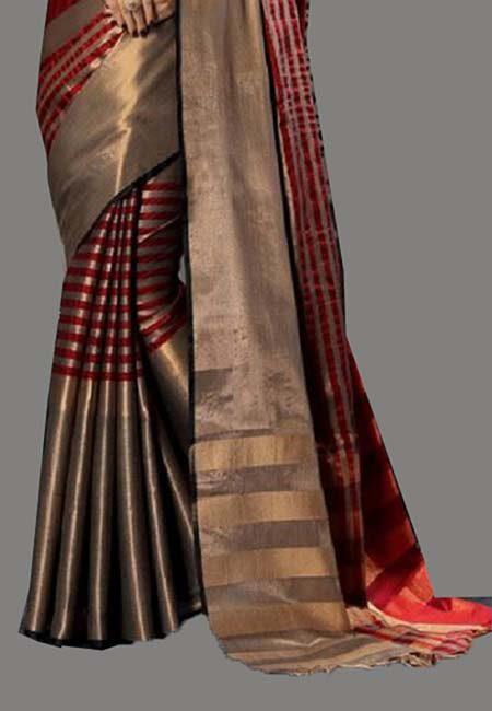 Maroon Color Cotton Silk Saree (She Saree 726)
