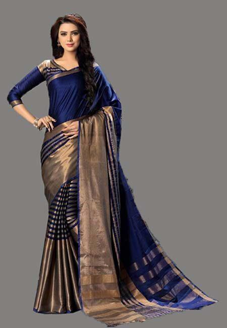 Deep Blue Color Cotton Silk Saree (She Saree 730)
