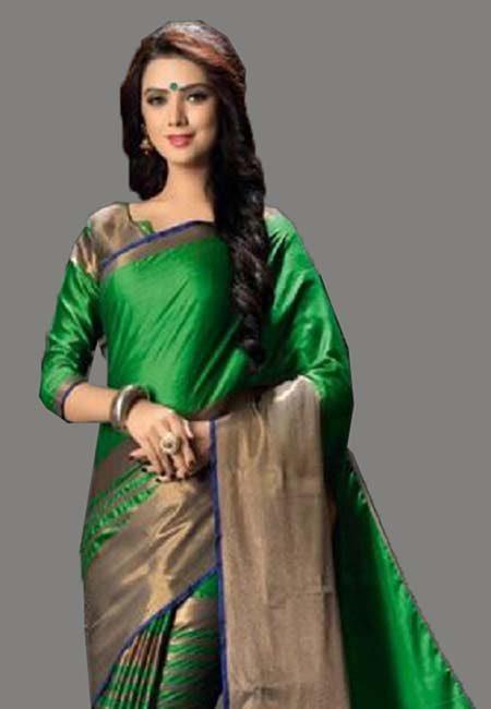Parrot Green Color Cotton Silk Saree (She Saree 731)