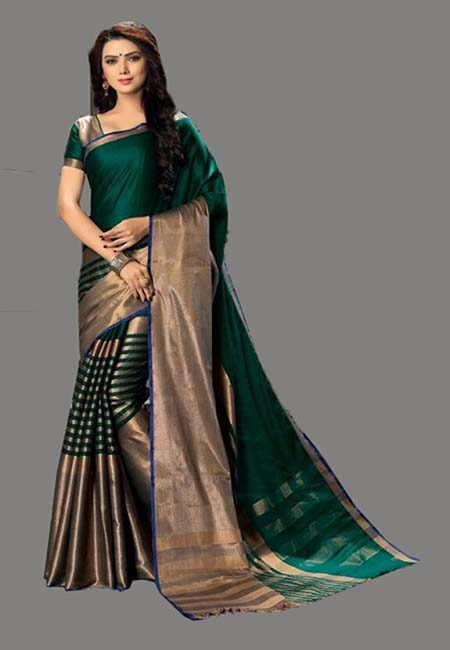 Bottle Green Color Cotton Silk Saree (She Saree 733)