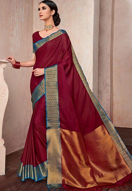 Maroon Color Handloom Cotton Saree (She Saree 742)