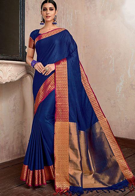 Deep Blue Color Handloom Cotton Saree (She Saree 744)