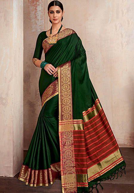 Bottle Green Color Handloom Cotton Saree (She Saree 737)