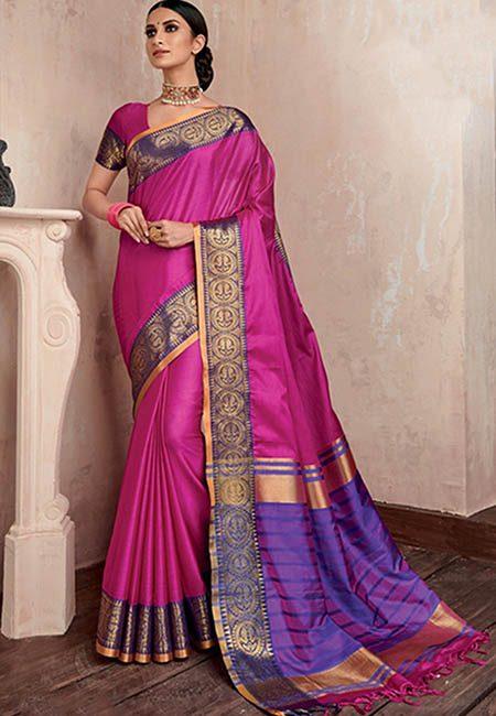 Fuchsia Pink Color Handloom Cotton Saree (She Saree 738)