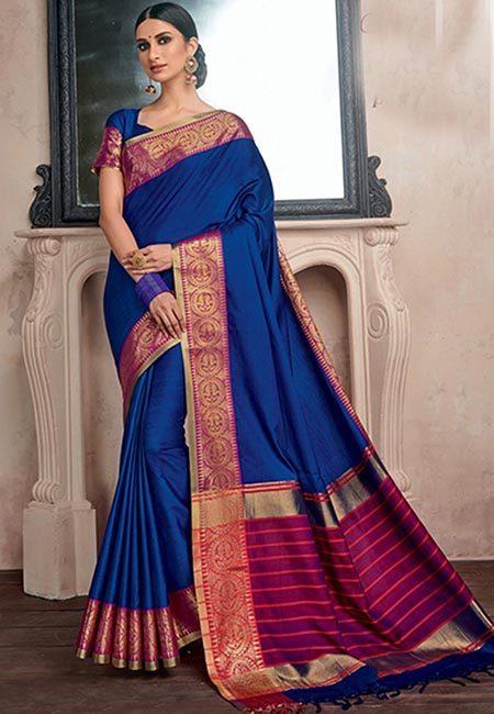 Turquoise Blue Color Handloom Cotton Saree (She Saree 739)