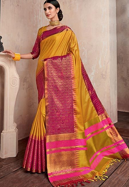 Mustard Yellow Color Handloom Cotton Saree (She Saree 735)