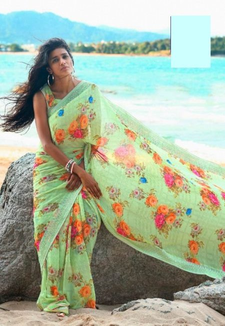 Light Olive Green Color Printed Georgette Saree (She Saree 768)