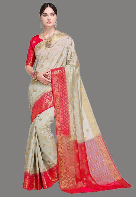 Grey Color Madurai Silk Saree (She Saree 623)