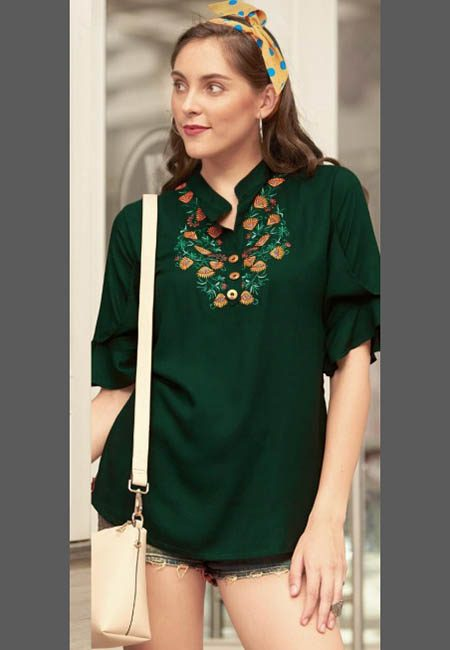 Deep Bottle Green Color Western Style Rayon Top (She Top 521)