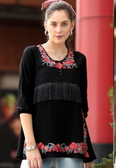 Black Color Western Style Rayon Top (She Top 526)