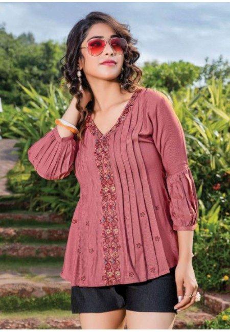 Rosy Brown Color Short Designer Cotton Top (She Top 518)
